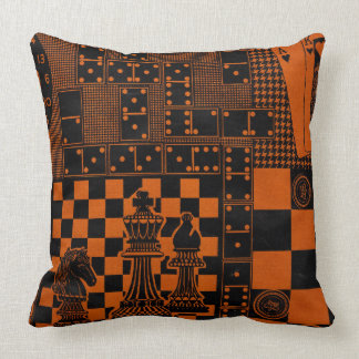 chess checkers dominos dominoes throw pillow