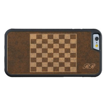 Chess Checkers Draughts Veneer Effect Maple Inlay Carved® Maple iPhone 6 Bumper at Zazzle
