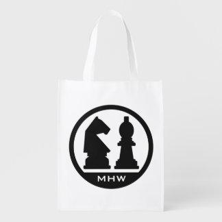 CHESS custom monogram reusable bag
