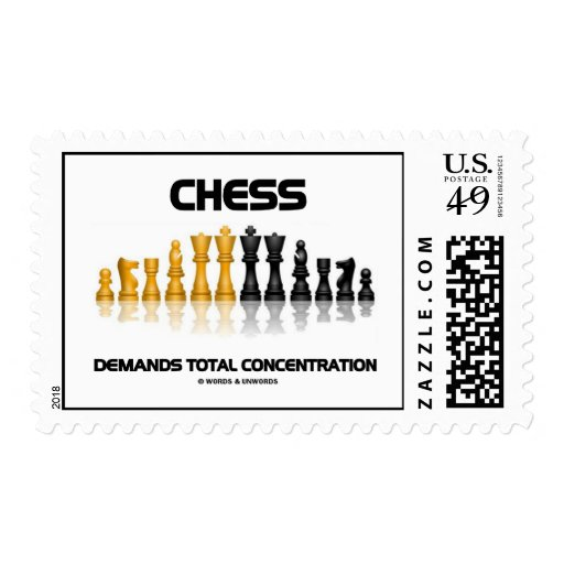Chess Demands Total Concentration Stamp