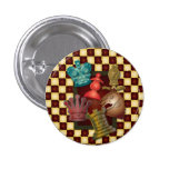 Chess Design King Queen Knight Bishop Pawn 1 Inch Round Button