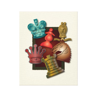 Chess Design King Queen Knight Bishop Pawn Gallery Wrapped Canvas