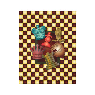 Chess Design King Queen Knight Bishop Pawn Gallery Wrap Canvas