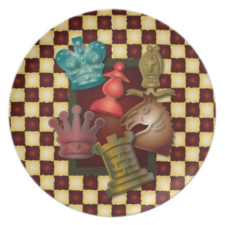 Chess Design King Queen Knight Bishop Pawn Dinner Plate