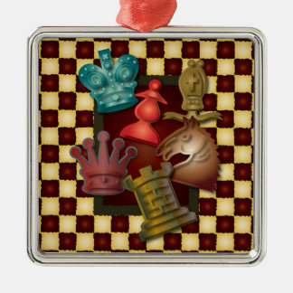 Chess Design King Queen Knight Bishop Pawn Metal Ornament