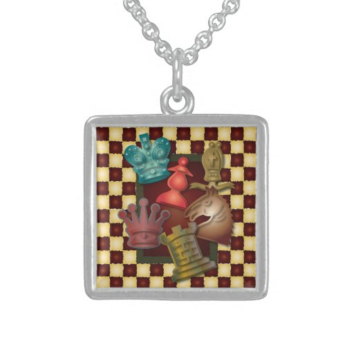Chess Design King Queen Knight Bishop Pawn Necklace