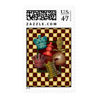 Chess Design King Queen Knight Bishop Pawn Postage