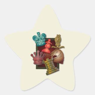 Chess Design King Queen Knight Bishop Pawn Star Sticker
