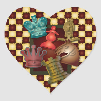 Chess Design King Queen Knight Bishop Pawn Heart Stickers
