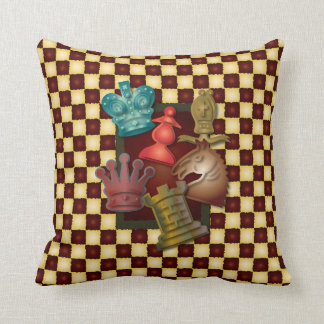 Chess Design King Queen Knight Bishop Pawn Throw Pillow