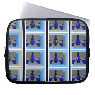 Chess Design Neoprene Laptop Electronics Case Blue Laptop Computer Sleeve