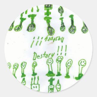 """Chess """"Destroy"""" Classic Round Sticker"""