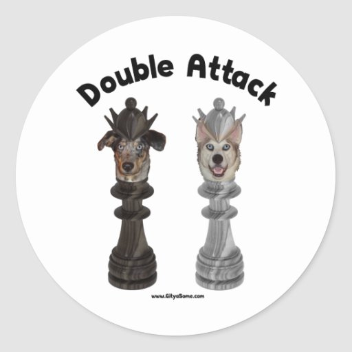 Chess Double Attack Dogs Classic Round Sticker