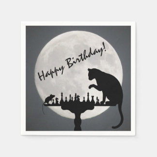 Chess Full Moon Cat and Mouse Game Happy Birthday! Napkin
