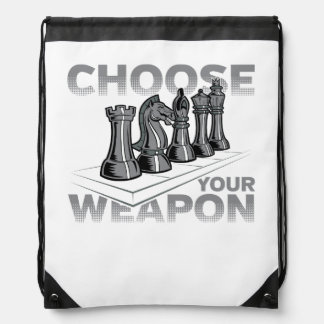 Chess Game Choose Your Weapon Drawstring Backpack