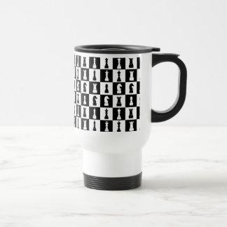 Chess Game Figures Black and White Pattern Travel Mug