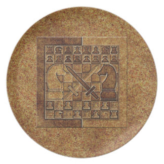 CHESS GAME IN STONE DINNER PLATE