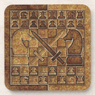 CHESS GAME IN STONE DRINK COASTER