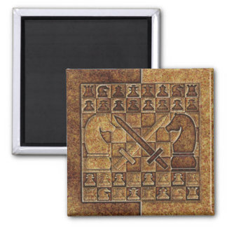 CHESS GAME IN STONE REFRIGERATOR MAGNET