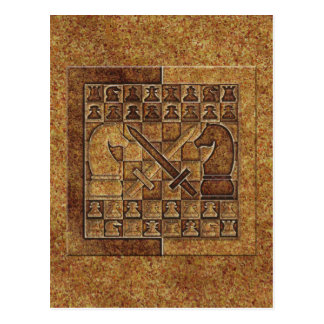 CHESS GAME IN STONE POSTCARD