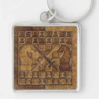 CHESS GAME IN STONE Silver-Colored SQUARE KEYCHAIN