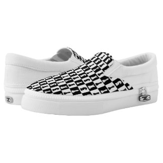 Chess Game Patter Black And Whit Checks Slip-On Sneakers