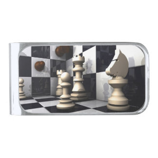 Chess Game Style Silver Finish Money Clip