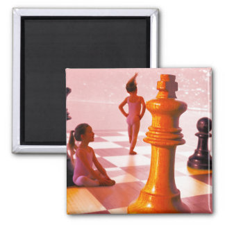 Chess Girls 2 Inch Square Magnet