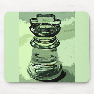 Chess Glass King Green Background Outlined Mouse Pad