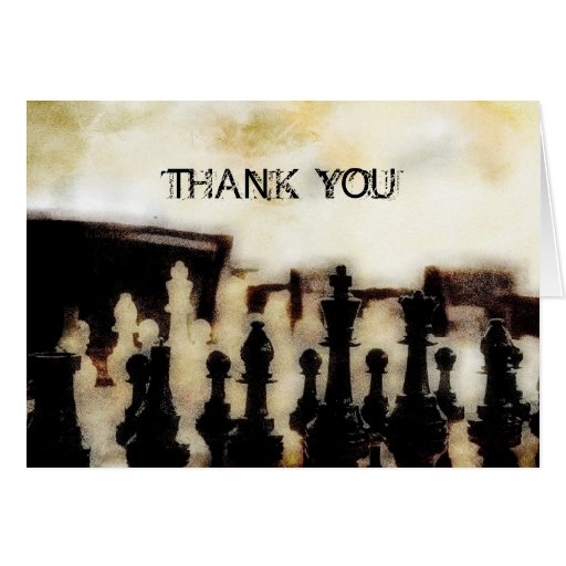 Chess Grunge Thank You Note Card