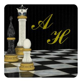Chess Inspired Monogrammed Invitation
