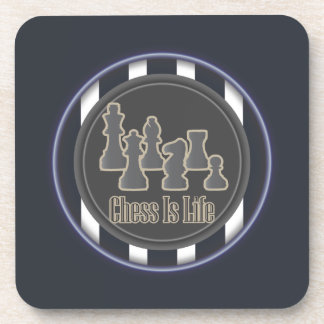Chess is Life Blue Drink Coaster