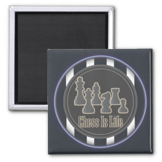 Chess Is Life Blue Square Magnet