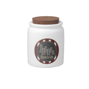 Chess Is Life Red Candy Jar