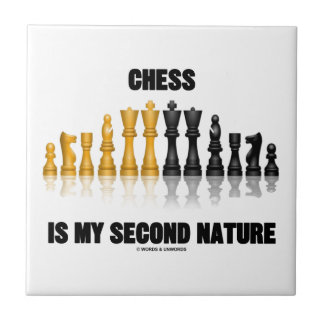 Chess Is My Second Nature (Reflective Chess Set) Small Square Tile