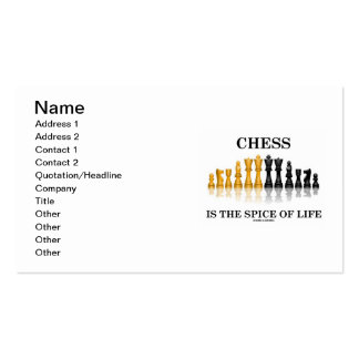 Chess Is The Spice Of Life (Reflective Chess Set) Business Card Template