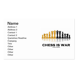 Chess Is War (Reflective Chess Set) Business Card Templates