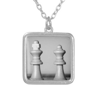 Chess King And Queen Silver Plated Necklace