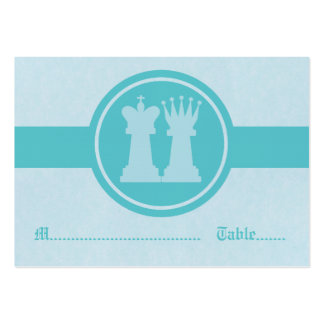 Chess King and Queen Wedding Place Cards, Aqua Large Business Card