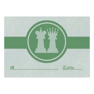Chess King and Queen Wedding Place Cards, Green Large Business Card