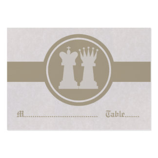Chess King and Queen Wedding Place Cards, Latte Large Business Card