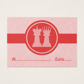 Chess King and Queen Wedding Place Cards, Red Business Card
