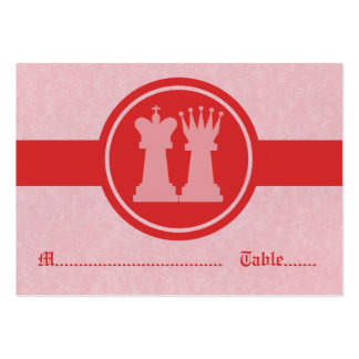 Chess King and Queen Wedding Place Cards, Red Large Business Card