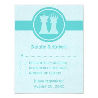 Chess King and Queen Wedding Response Card, Aqua Card