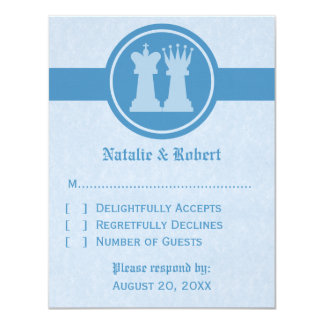 Chess King and Queen Wedding Response Card, Blue Card