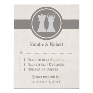 Chess King and Queen Wedding Response Card, Gray Card