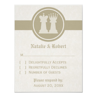 Chess King and Queen Wedding Response Card, Latte Card