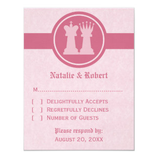 Chess King and Queen Wedding Response Card, Pink Card