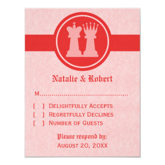 Chess King and Queen Wedding Response Card, Red Card