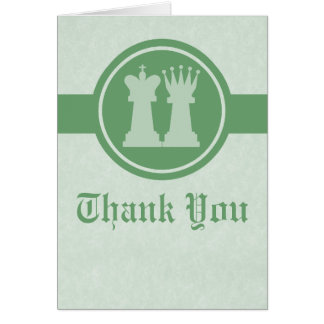 Chess King and Queen Wedding Thank You Card, Green Card
